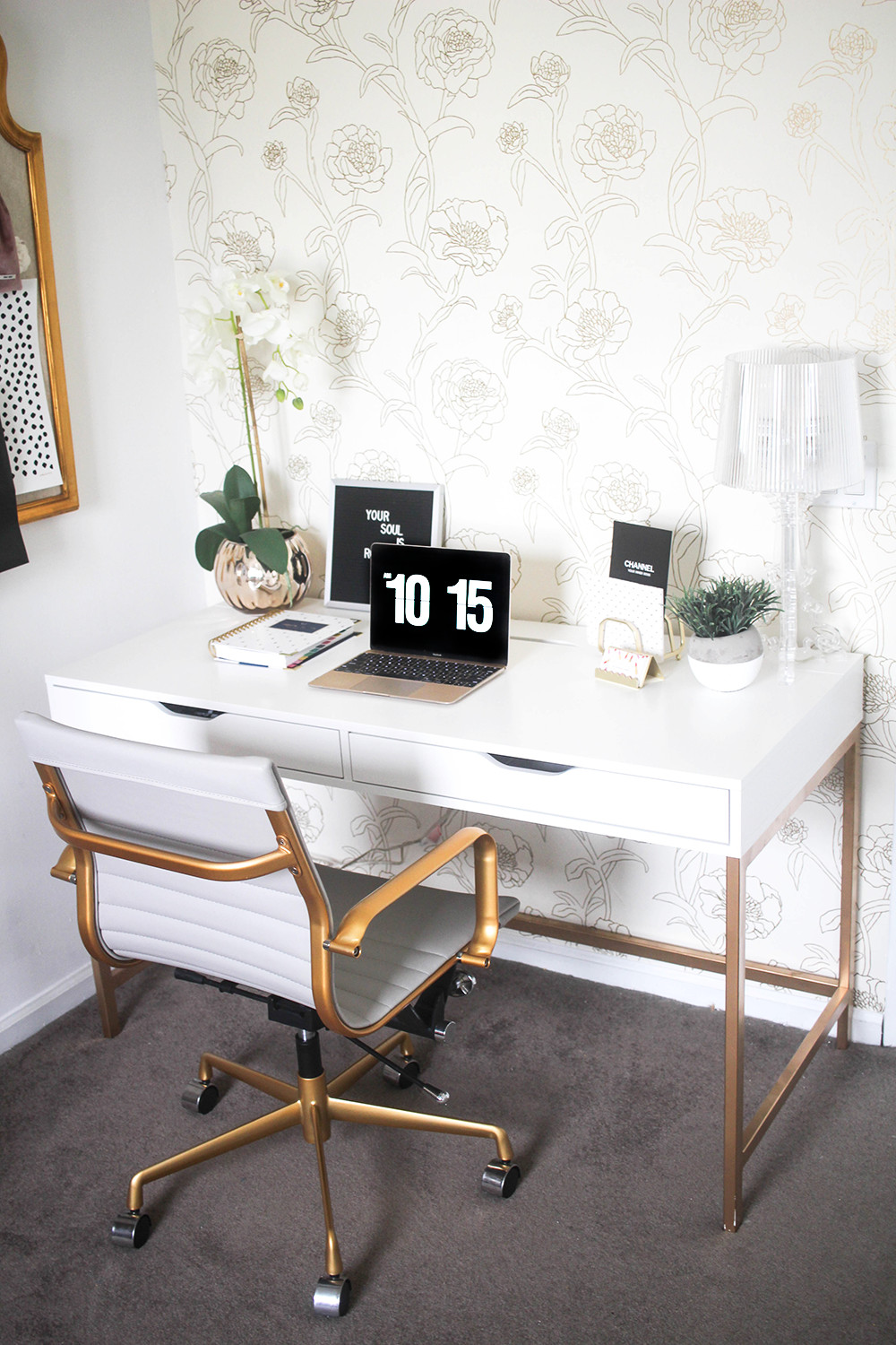 Gold and White Office Decor Fresh White and Gold Desk Ikea Hack Money Can Buy Lipstick