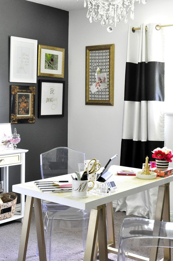 Gold and White Office Decor Lovely Black White & Gold Home Fice Reveal