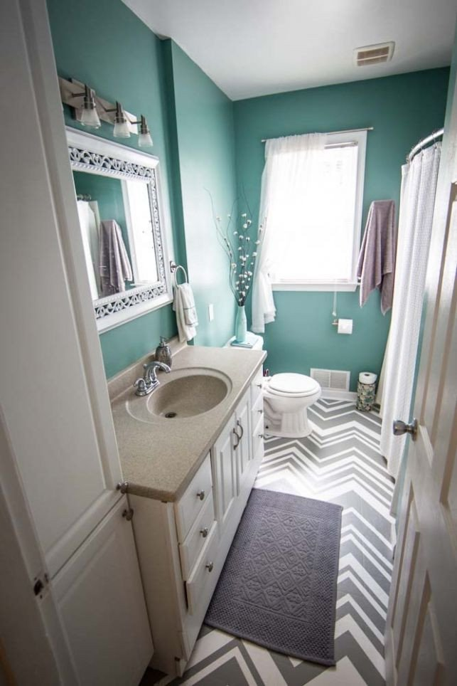 Gray and Turquoise Bathroom Decor Beautiful Wall Color Maybe White or Grey Floor with Chevron Grey Rugs the Sink Can Either Be Painted