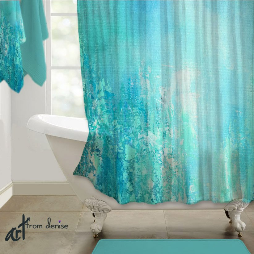 Gray and Turquoise Bathroom Decor Inspirational Teal Blue Aqua Gray Shower Curtain Abstract Art Turquoise