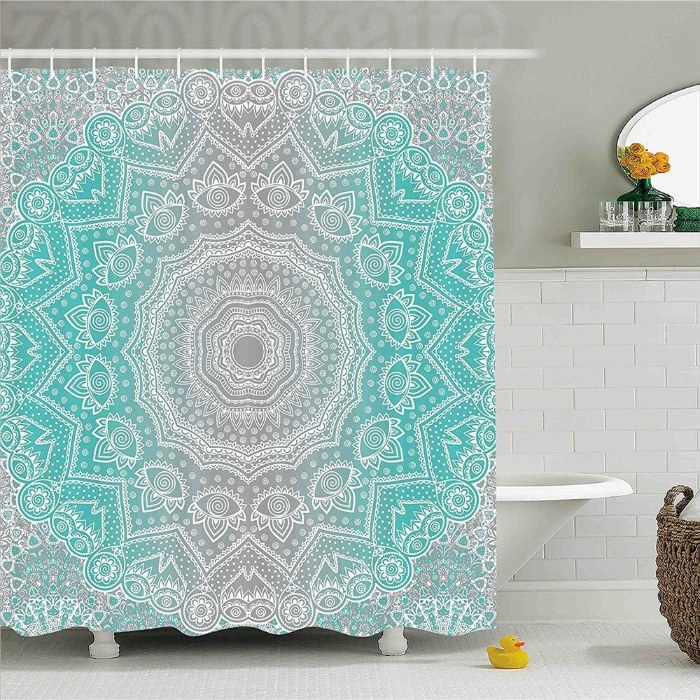 Gray and Turquoise Bathroom Decor Lovely Grey and Turquoise Shower Curtain Primitive Spiritual Essence and Universe Harmony Mandala Ombre