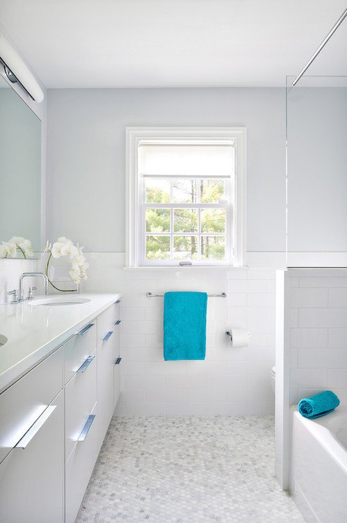 Gray and Turquoise Bathroom Decor Luxury White and Gray Bathroom with Turquoise Accents Contemporary Bathroom Clean Design Partners
