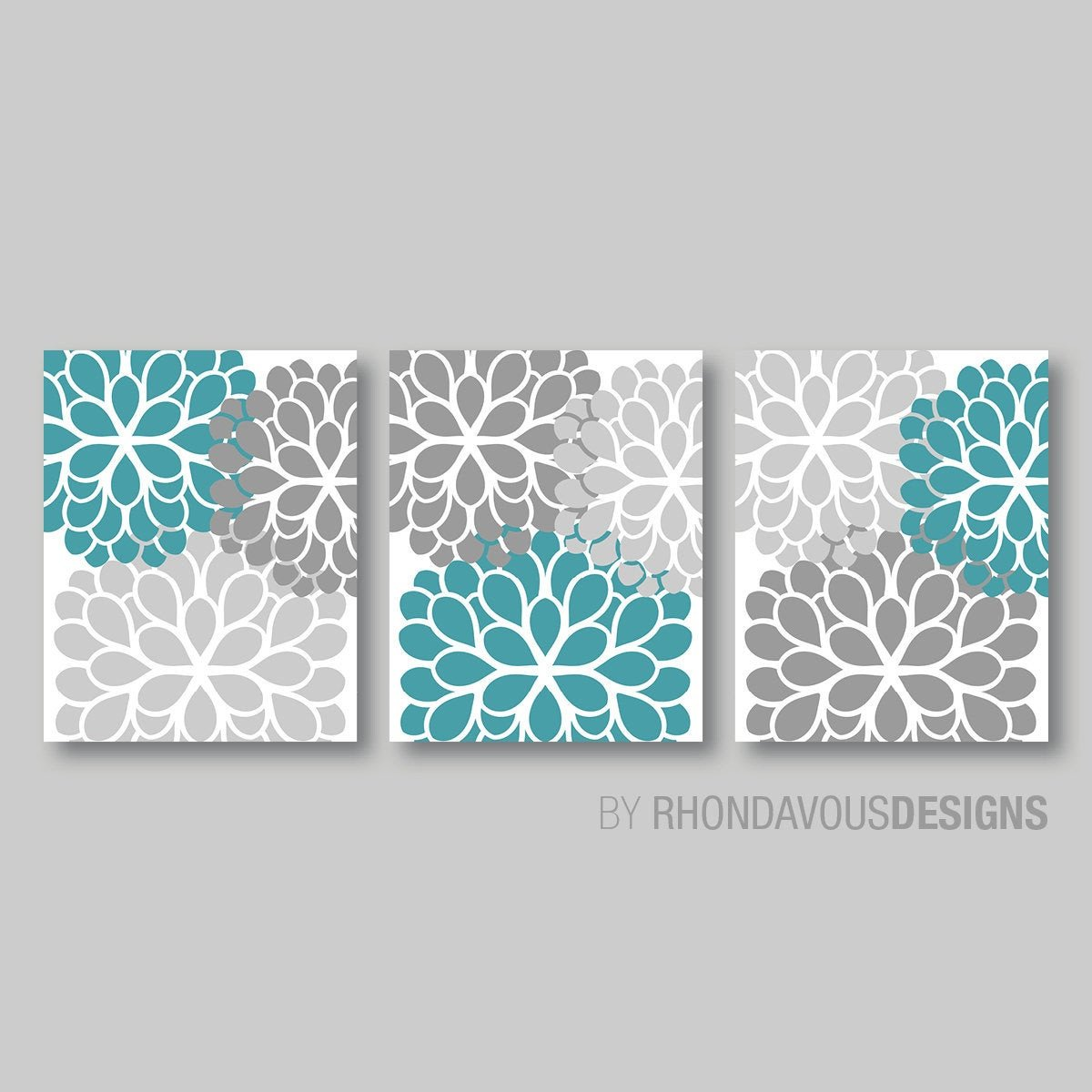 Gray and Turquoise Bathroom Decor Unique Gray Turquoise Dahlia Flower Print Trio Home Petals Bloom