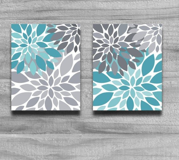 Gray and Turquoise Bathroom Decor Unique Turquoise Gray Flower Burst Print Set Home by Printsbychristine
