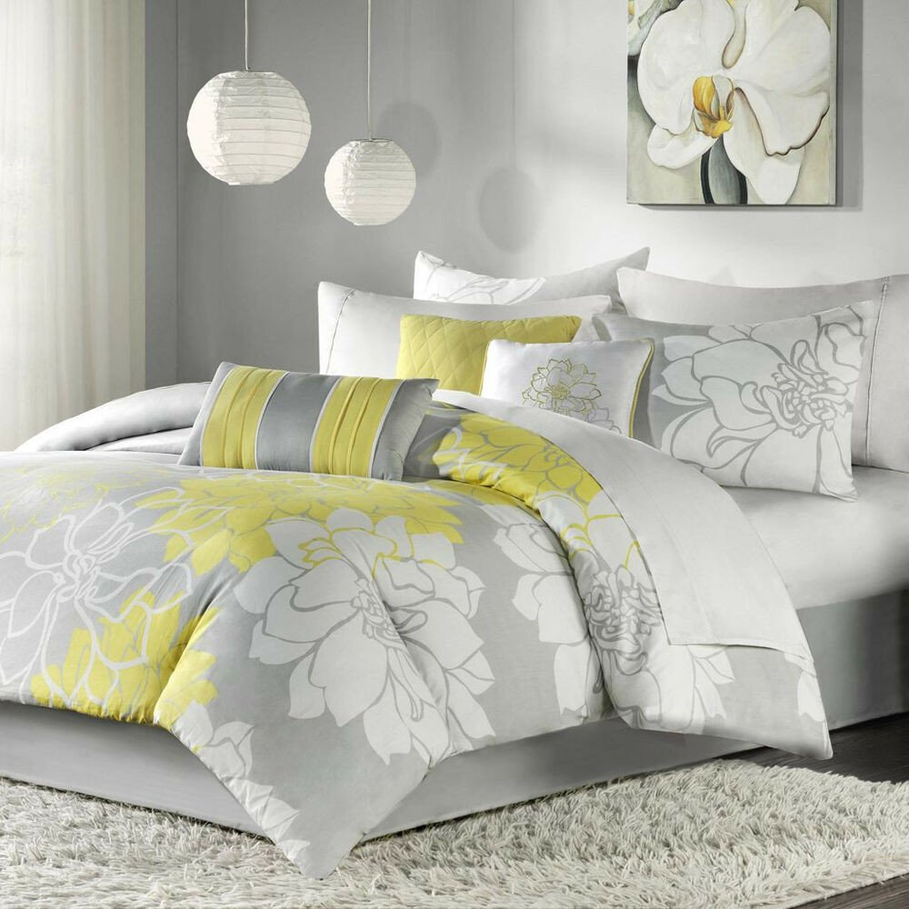 Gray and Yellow Bedroom Decor Lovely Beautiful Chic Grey Gray Yellow Floral Modern 6 Pc forter Set Cal & King