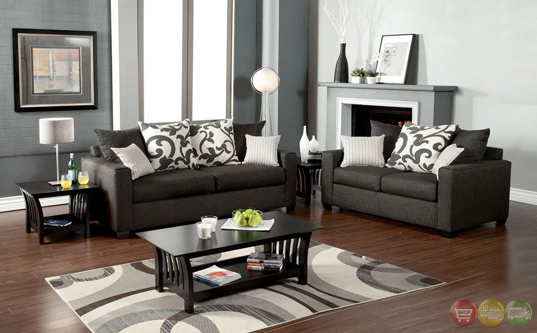 Gray Contemporary Living Room Elegant Colebrook Contemporary Medium Gray Living Room Set with Pillows Sm3010