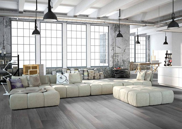 Gray Contemporary Living Room Elegant Modern Grey Loft Style Living Room with Porcelain Wood Floors Modern Living Room by Simple