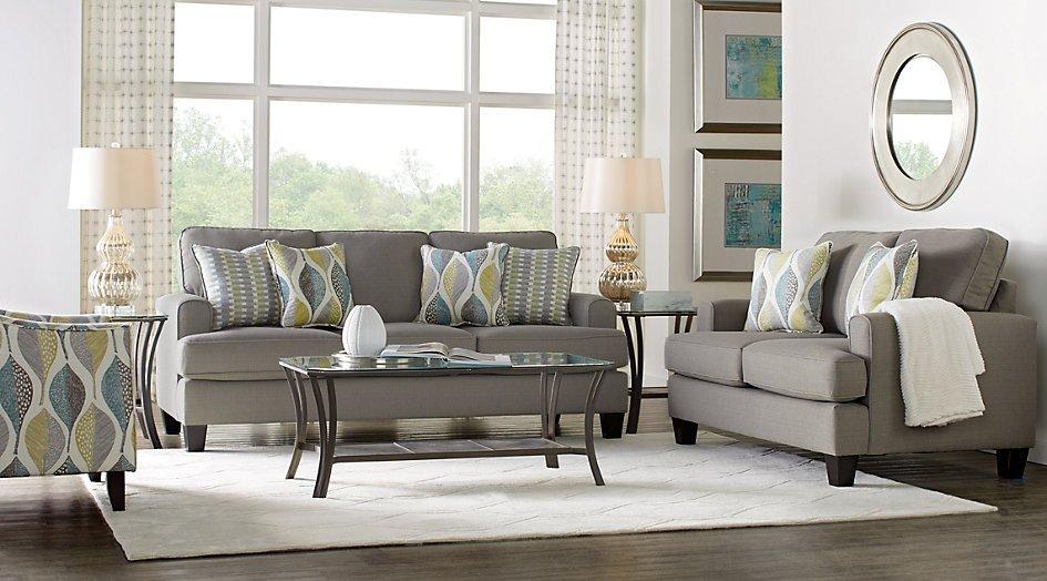 Gray sofa Living Room Decor Fresh Cypress Gardens Gray 7 Pc Living Room Living Room Sets Gray