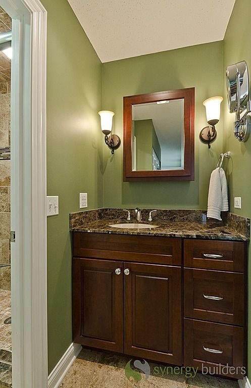 Green and Brown Bathroom Decor Awesome Craftsman 3 4 Bathroom Sconces Green with Dark Brown Cabinets Bathroom Pinterest