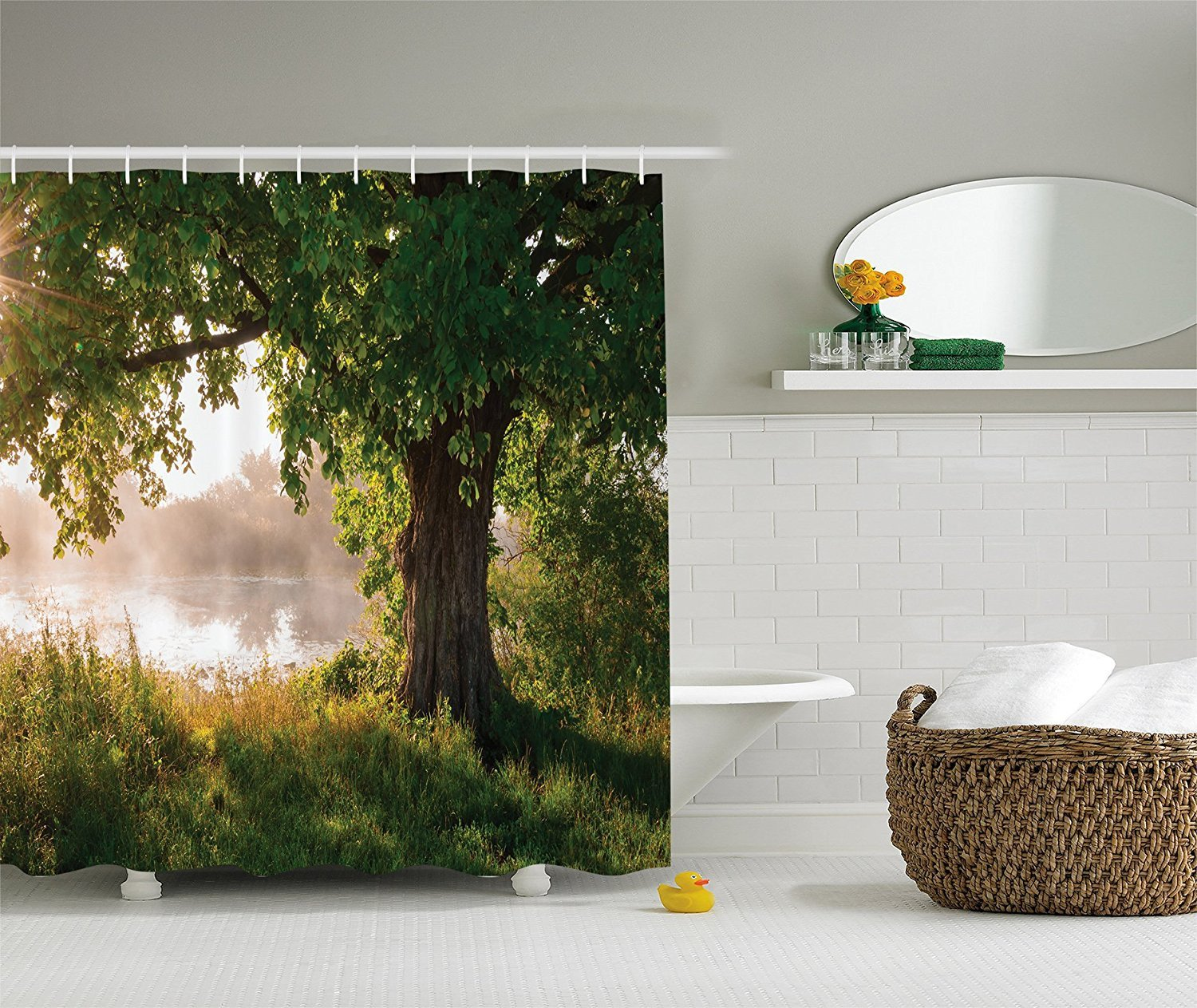 Green and Brown Bathroom Decor Luxury Green and Brown Shower Curtain Oak Tree Decor by Mystic Landscape Foggy Scene and Stream View