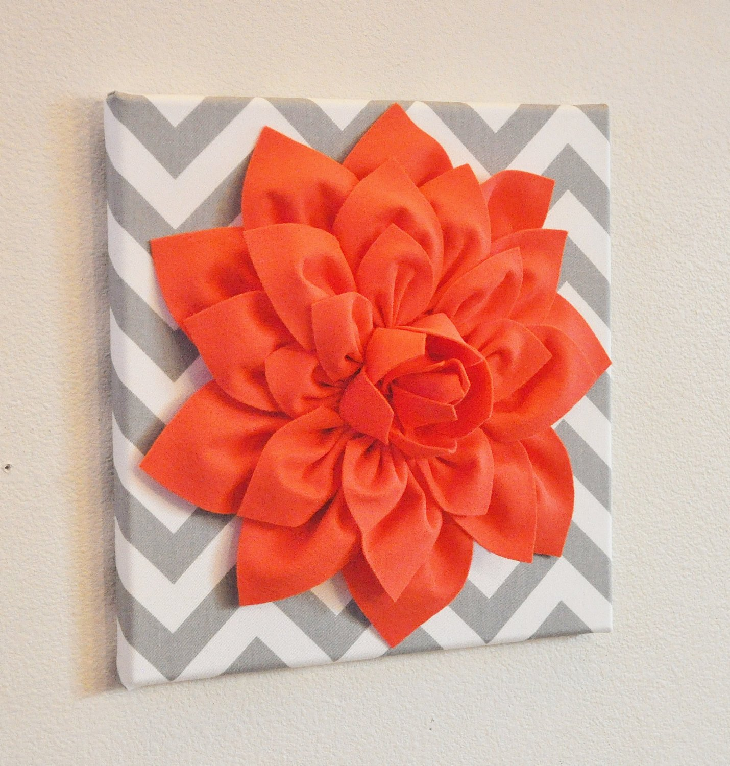 Grey and White Wall Decor Awesome Wall Flower Decor Coral Dahlia On Gray and White Chevron 12