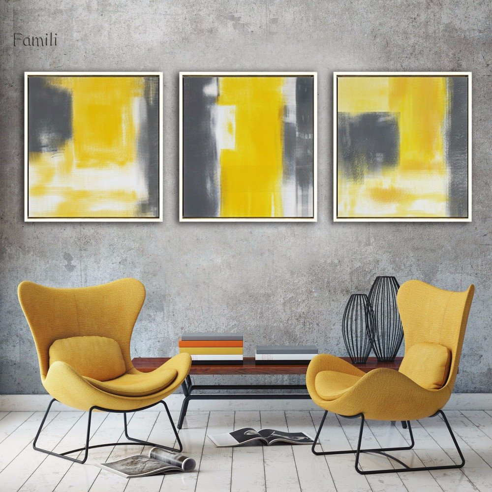 Grey and White Wall Decor Beautiful Modern Wall Abstract Paint Yellow Gray and White Canvas Painting Art Print Poster Picture Wall