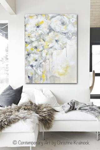 Grey and White Wall Decor Best Of original Art Yellow Grey Abstract Painting White Flowers Coastal Decor – Contemporary Art by