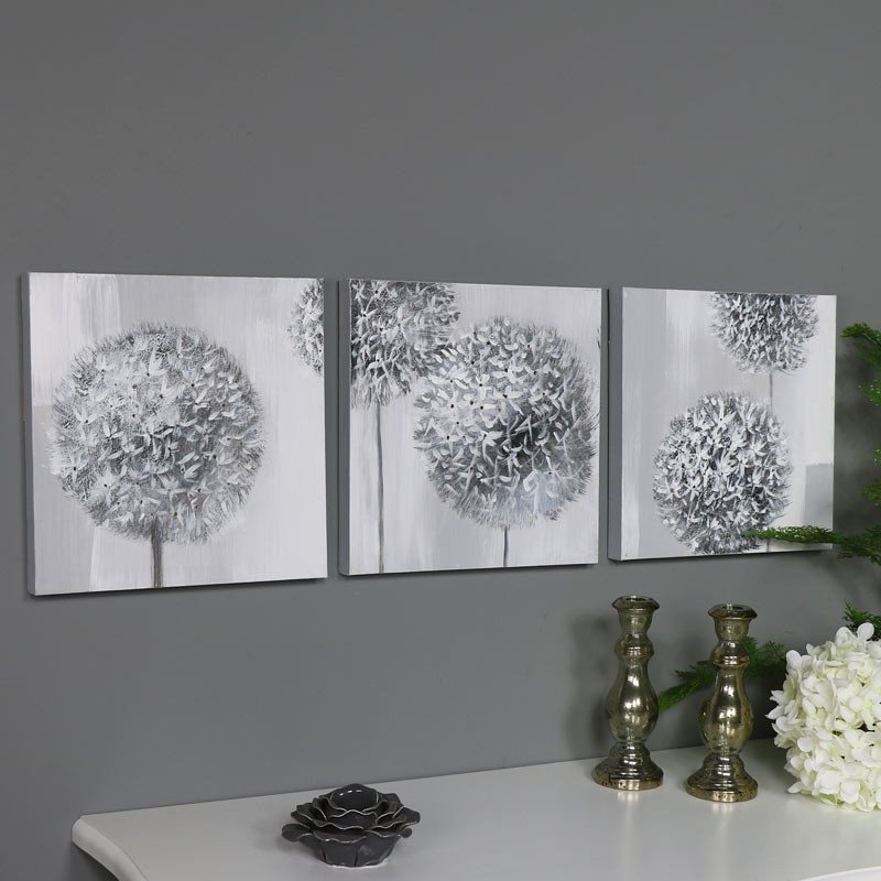 Grey and White Wall Decor Elegant Triptych Wall Art Grey Flower Canvas Print Windsor Browne