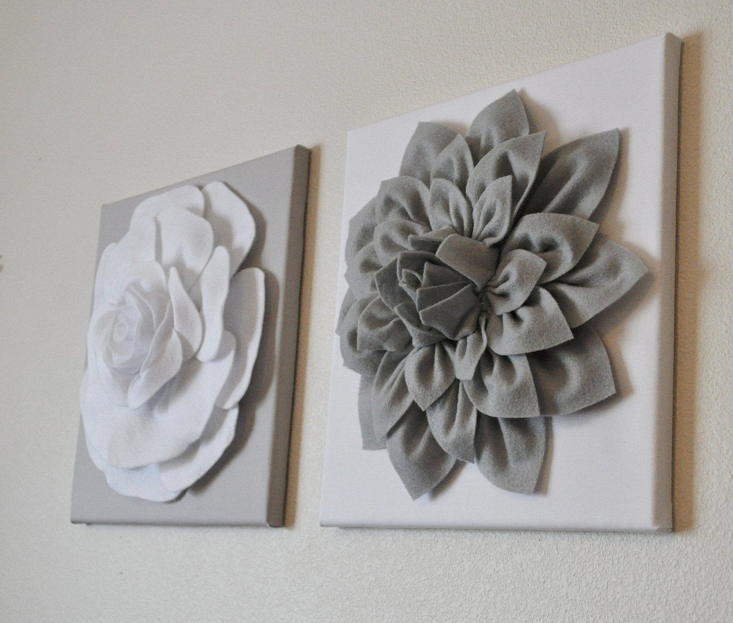 Grey and White Wall Decor Inspirational Two Wall Flowers Gray Dahlia On White and White Rose On Gray
