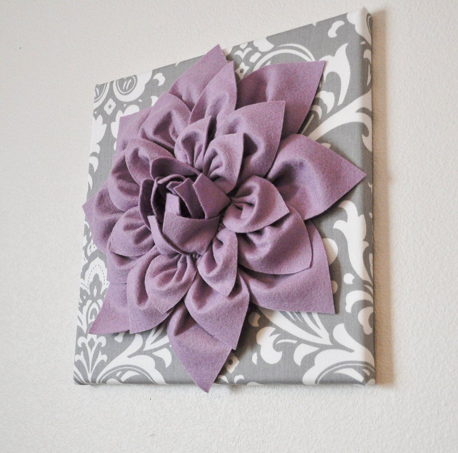 Grey and White Wall Decor Inspirational Wall Art Lilac Purple Dahlia On Gray and White Damask 12