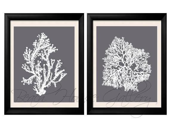 Grey and White Wall Decor Unique Gray Coral Wall Art Cool Grey Coral Print Grey White Wall