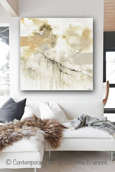 Grey and White Wall Decor Unique original Art White Grey Abstract Painting Modern Wall Art Neutral Deco – Contemporary Art by