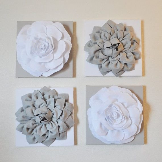 "Grey and White Wall Decor Unique Wall Decor Set Of Four Gray and White Flower Wall Hangings 12 X12"" Canvases Flower Wall Art"