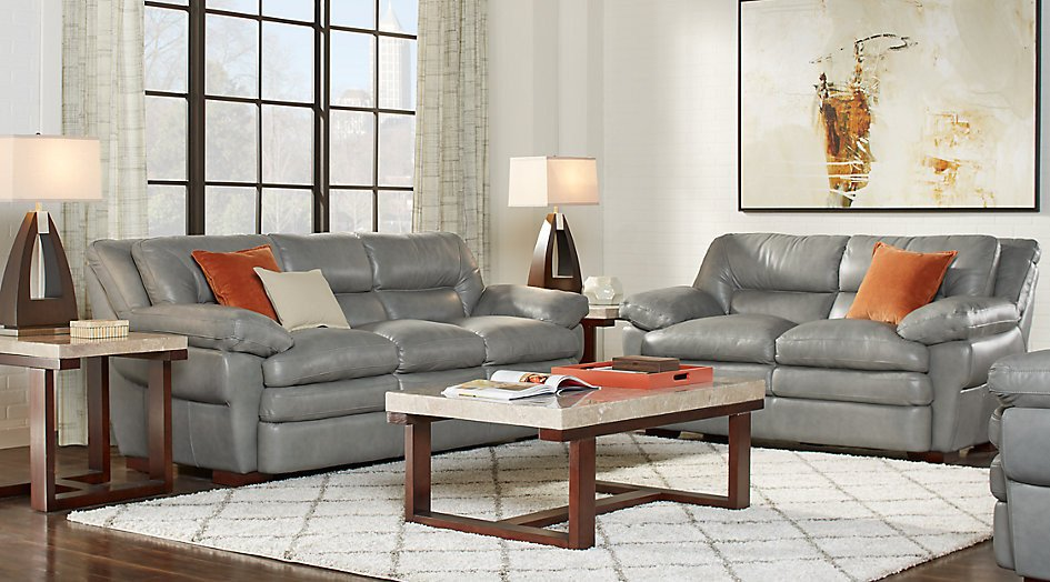 Grey sofa Living Room Decor Elegant Aventino Gray Leather 3 Pc Living Room Leather Living Rooms Gray