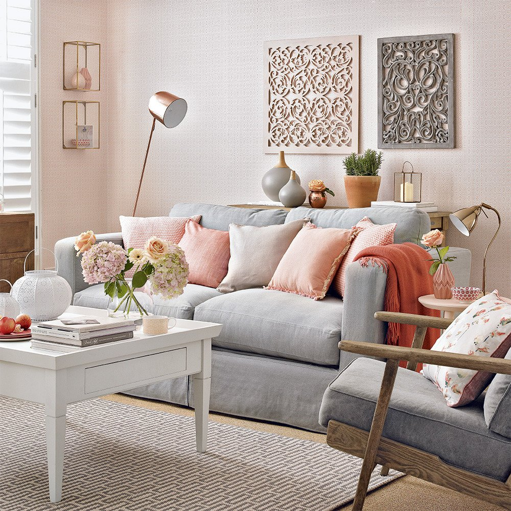 Grey sofa Living Room Decor Elegant Modern Peach and Grey Living Room with Fretwork Panels