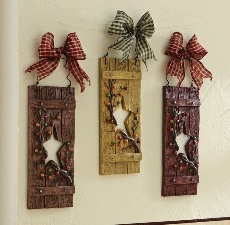 Heart and Star Kitchen Decor Awesome Primitive Hearts and Stars Country Hanging Wall Decor Set Of 3 Carved Wood Look