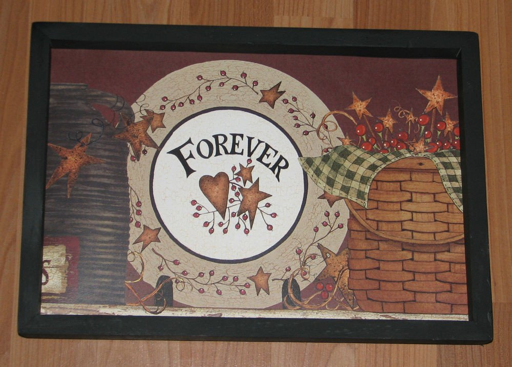 """Heart and Star Kitchen Decor Elegant Primitive Country Pottery forever Barn Star Heart Basket Berries 9"""" X 13"""" Decor"""