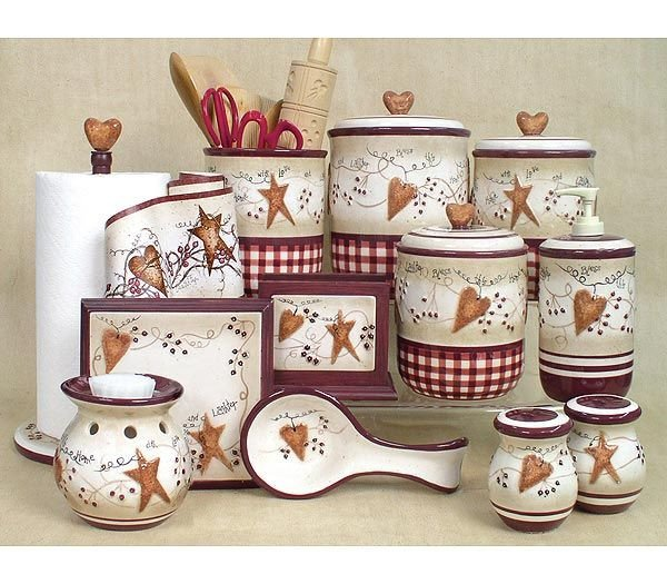 Heart and Star Kitchen Decor Fresh 19 Best Primitive Kitchen Canisters Images On Pinterest