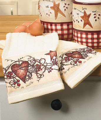 Heart and Star Kitchen Decor Inspirational Country Hearts & Stars Kitchen Canisters Spice Shaker Utensil Holder Rug towels