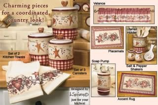 Heart and Star Kitchen Decor New Details About Beautiful Linda Spivey Hearts & Stars Red Burgundy Country Kitchen Home Decor