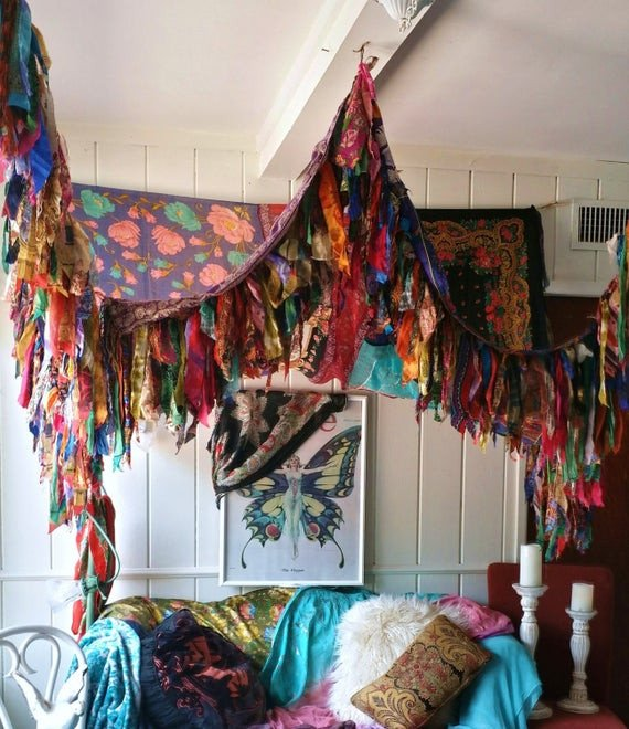 Hippie Bedding and Room Decor Inspirational Boho Bedroom Patio Canopy Bohemian Hippy Vtg Bed Scarves Gypsy
