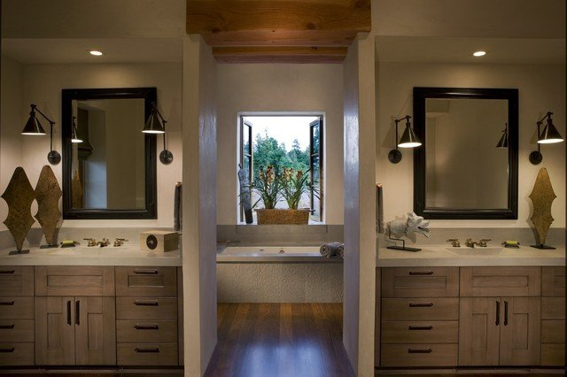 Master Bath with His and Her s Concrete Counters Rustic Bathroom san francisco by Saint