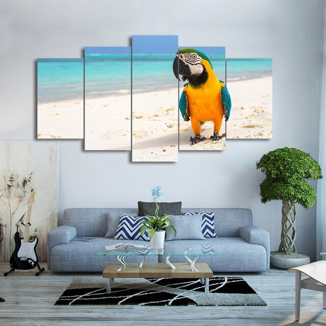Home Decor Pictures Living Room Luxury Wall Art Canvas Hd Print Frame Home Decor Living Room 5 Pieces Resting Bird Parrot