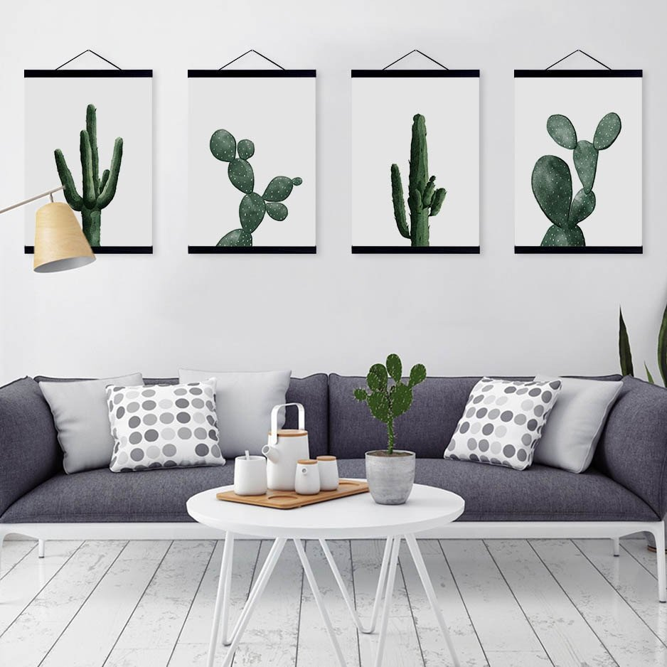Nordic Modern Floral Watercolor Green Cactus Framed Canvas Painting Living Room Home Decor Wall