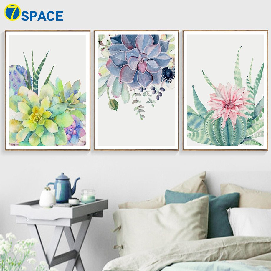 Home Interior Pictures Wall Decor Beautiful Watercolor Flower Cactus Wall Art Canvas Painting nordic Posters and Prints Canvas Art Wall