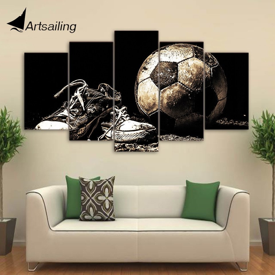 HD Printed 5 Piece Canvas Art Soccer Shoes Painting Wall Modular Framed Painting Home