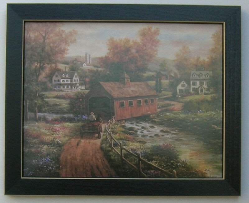Home Interior Pictures Wall Decor New Covered Bridge Landscape Country Framed Country for Interior Home Decor