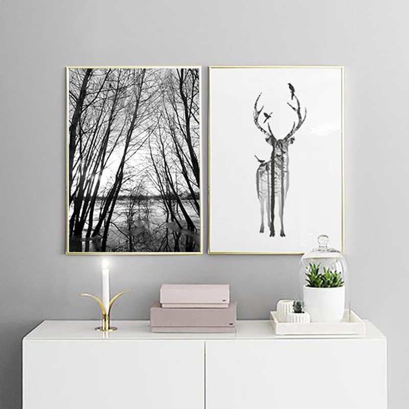 Home Interior Pictures Wall Decor New nordic Style forest Canvas Art Print Painting Poster Deer Wall for Home Decoration