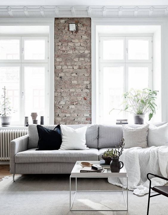 Industrial Contemporary Living Room Elegant Stylish Monochrome and Grey Living Room Inspiration with Greenery and Wood Accents
