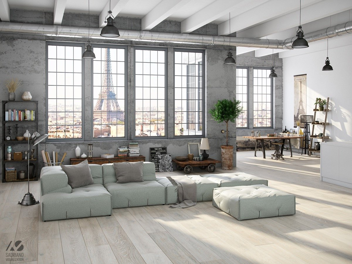 Industrial Contemporary Living Room Inspirational Industrial Style for Living Room Design Apply with Concrete Brick and Wooden touched Roohome