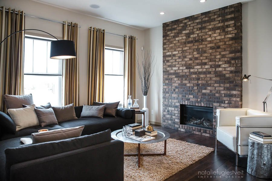 Industrial Contemporary Living Room Lovely Stripes Brick & Metal Industrial Modern Living Room by Calgary Interior Designer Natalie