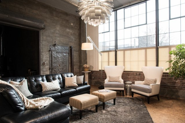 Industrial Contemporary Living Room Unique Modern City Condo Industrial Living Room St Louis by Tamsin Design Group