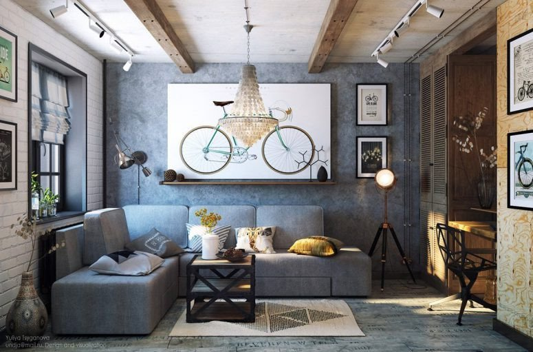 Industrial Modern Living Room Decorating Ideas New Cozy Industrial Living Room Design In Grey tones Digsdigs