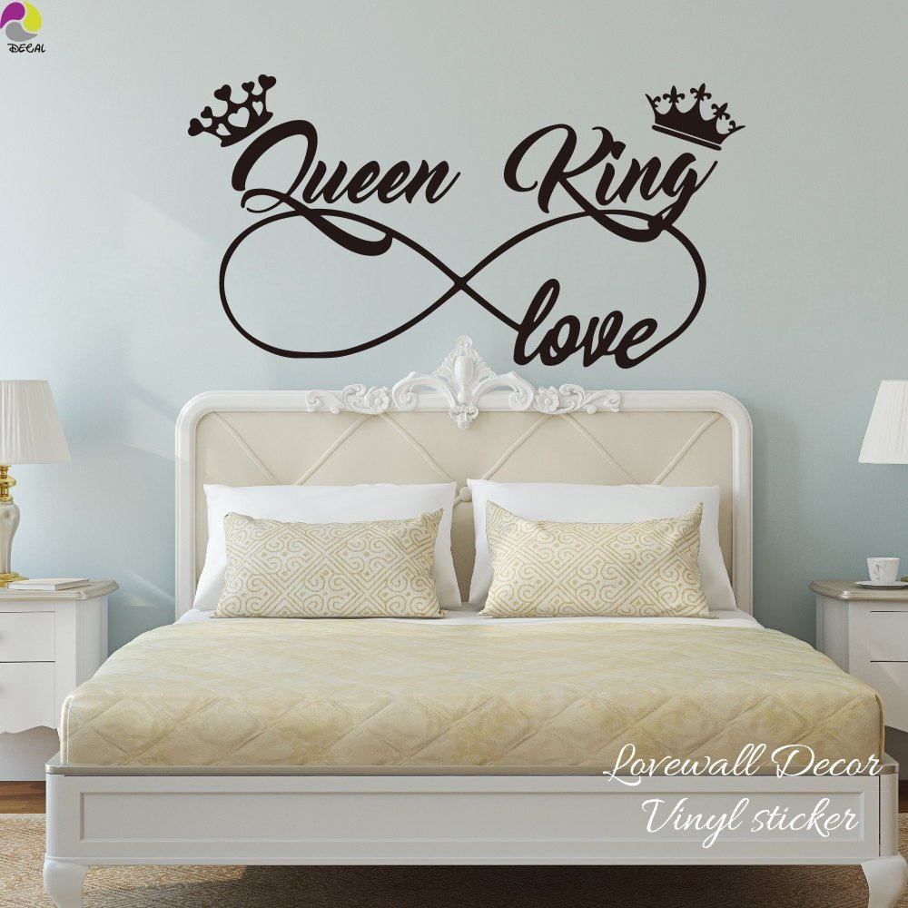 King and Queen Bedroom Decor Elegant King and Queen Love Infinity Crown Wall Sticker Bedroom sofa Family Lover Wife Husband Wall