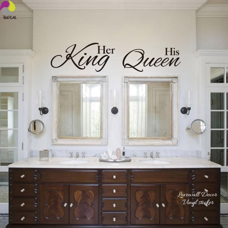 King and Queen Bedroom Decor Fresh Her King His Queen Quote Wall Sticker Bathroom Hang towel Mirror Bedroom sofa Wedding Floor
