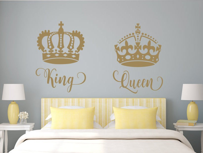 King and Queen Bedroom Decor Lovely King and Queen Wall Decal His Queen Her King Master Bedroom Decor Romantic Bedroom