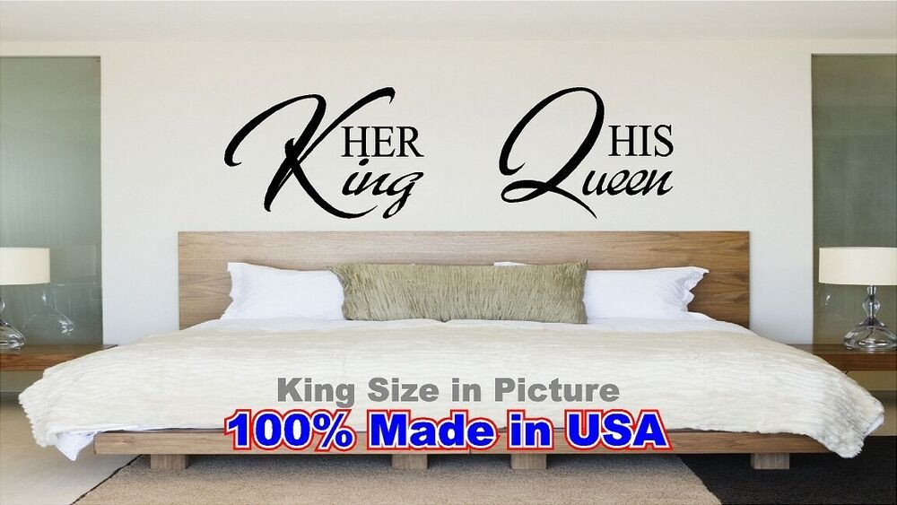 King and Queen Bedroom Decor Unique Her King His Queen Bed Room Wall Quote Vinyl Decal Love Saying Decor Sticker