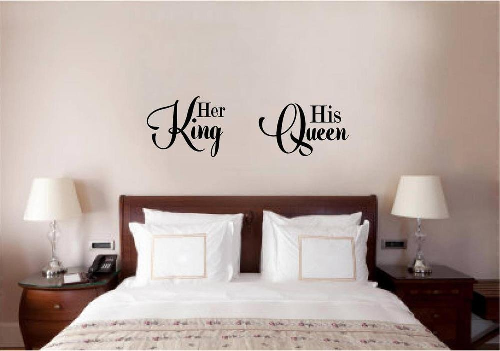King and Queen Bedroom Decor Unique Her King His Queen Love Vinyl Decal Wall Decor Sticker Words Lettering Quote Art