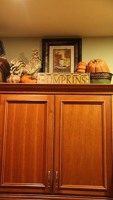 Kitchen Cabinet top Decor Ideas Best Of Fun Way to Decorate Above Kitchen Cabinets for Fall Like the Idea Of Making One Section