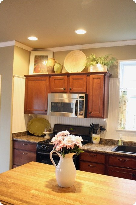 Kitchen Decor for Above Cabinets Lovely How to Decorate Kitchen Cabinets From Thrifty Decor Chick